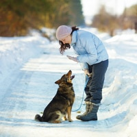 A woman with a dog in snow
