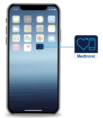 View an image of the iPhone X with a Medtronic heart icon.